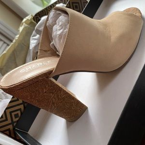 Charles David Shoes - Upper mules in suede-leather with cork heels